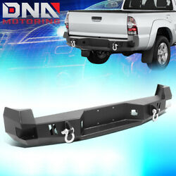 For 2005-2015 Toyota Tacoma Rear Steel Step Bumper Face Bar W/d-ring Shackles