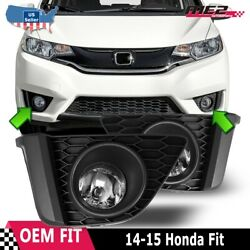For 14-15 Honda Fit Pair Oe Style Factory Fit Fog Light Bumper Kit Clear Lens