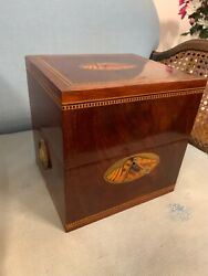 Fine Antique Shell Inlaid Mahogany 4 Decanter Box Intact Glass Tray And Decanters