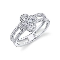 Diamond Clover Flower Ring White Gold 14k Pear Cut Natural Womens Cocktail .59ct