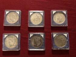 Peace Silver Dollars - Six In Lot One Owner All Six In Groups.1923 Not Shownandnbsp