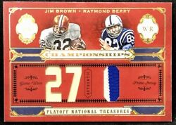 Jim Brown / Raymond Berry 2008 Playoff National Treasures Dual Patch True 1/1