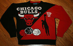 Chicago Bulls Acrylic Knit Sweater Men Small Game 7 Nba Basketball Black Red