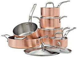 Lagostina Artiste Clad Copper Stainless Cookware Set, 12 Piece Fast Shipping
