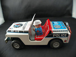 Yonesawa Japan N° 110 Jeep Police Dept Engine To Friction 6 1/2in Uncommon