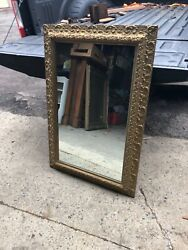 Large Vintage Very Pretty And Ornate Gold Frame Mirror 44andrdquox30andrdquo Glass = 36andrdquox22andrdquo