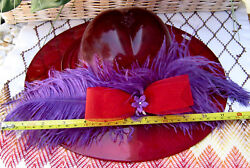 Fenton Ruby Large 12 Hat W/feathers And Bow Circa 2005 Made By Dave Fetty