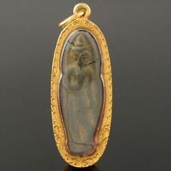 Rare Solid 24k Yellow Gold, Thai Buddha In Crystal Amulet Estate Pendant