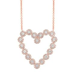 14k Rose Gold Diamond Heart Necklace Round Cut Pendant Womens 1.14 Ct Natural