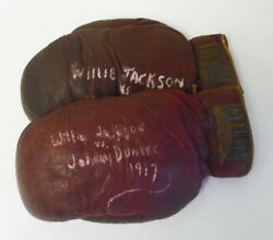 Willie Jackson Vs Johnny Dundee Fight Worn Boxing Gloves 01/15/1917 Round 1 Ko