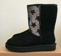 Ugg Womens Classic Short Sequin Stars Boots Black Suede Size 8 Warm Wool Winter