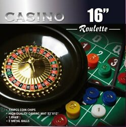 Roulette Wheel Game Set With 120 Chips Rake And 2 Metal Balls - 16-inch