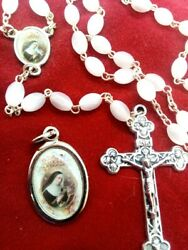 St. Rita Rosary Beads And Pendant Made In Italy Stamped Italy