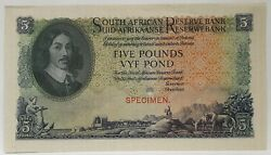South Africa 1929 . 5 Pounds . Collectorand039s Specimen Banknote . Rare . Unc