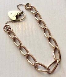 Lovely Antique Stamped Every Link 9ct Rose Gold Bracelet And Yellow Gold Padlock