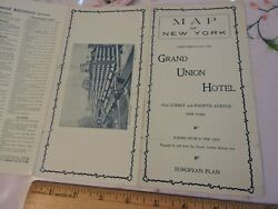 Rare 1907 Grand Union Hotel Central Station 8x17 New York City Nyc Map Brochure