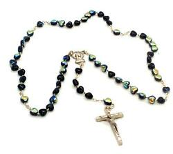 Black Heart-shaped Rosary Beads Silver-tone - Made In Italy - Stamped Italy