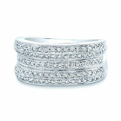 14k White Gold Diamond Linear Concave Ring Womens Wide Milgrain Beaded Cocktail