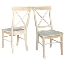 Fast Furnishings Set Of 2 - Unfinished Wood Dining Chairs With X-back Seat Ba...