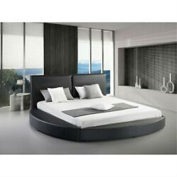 Fast Furnishings Queen Size Modern Round Platform Bed With Headboard In Black...