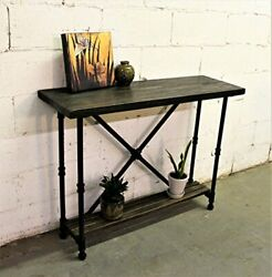 Houston Industrial Vintage 2-tier Pipe Console/sofa Hall Table Metal And Re...
