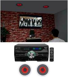 Technical Pro Dv4000 Home Theater Dvd Receiver+2 8 Red Led Ceiling Speakers