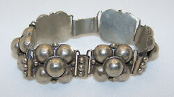 Vintage Early Mexico Sterling Silver Link Bracelet Marked Half Ball Flower