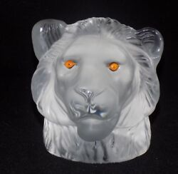 Saint Louis Crystal France-lion Head Paperweight