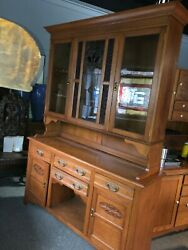 """Vintage 2 Door Oak Kitchen Hutch Cabinet Stain And Leaded Glass 83.5"""" X 60"""" X 16.5"""