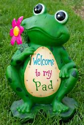 Alpine Welcome To My Padand039 Frog Statuary 18 Inch Tall