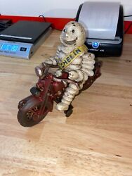 Michelin Tire Man Motorcycle Toy Solid Cast Iron Metal Texaco Gulf Sinclair Vg