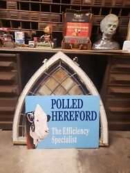 Big Polled Herefords Cow Sign Seed Feed Barn Corn Tractor Gas Oil Bull 18x24