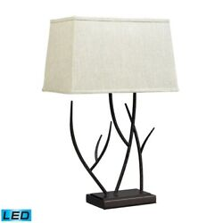 Winter Harbour Hammered Iron Led Table Lamp In Bronze