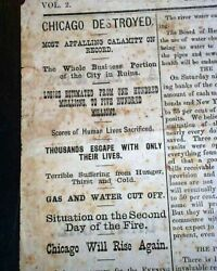 Best The Great Chicago Fire Illinois Conflagration Disaster 1871 Chic. Newspaper
