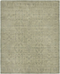 Kalaty Green Contemporary Knotted Faded Petals Bulbs Area Rug Floral Gr-717