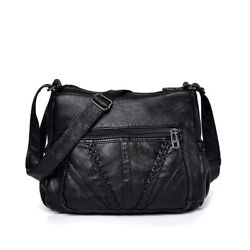 Women#x27;s Washed Leather Cross Body Bags Messengers Shoulder Solid Black Handbags $21.00