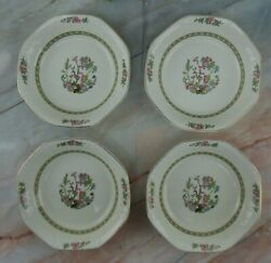 Four J.g. Meakin Sol Soup Bowls With Indian Tree Center, Greek Key, Octagonal