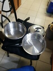 3pc American Cookware West Bend Ss 18/8 Multiply 3 Qt Sauce Pan And Strainer W/lid