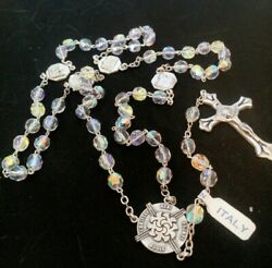 Ab Aurora Borealis Clear Crystal Rosary Beads Made In Italy Vatican Souvenir