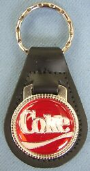 Vintage Red And White Coke Black Leather Chrome Coca Cola Key Ring