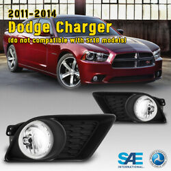 For 11-14 Dodge Charger Fog Lights Bumper Lamp Clear Lens Pair Switch Wiring Kit