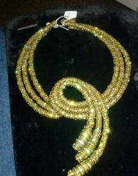 BIB NECKLACE OFAK FRANCOISE MONTAGUE COUTURE RUNWAY SNAKE SERPENT GOLDEN GREEN