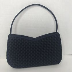 Vanessa Navy Evening Bag With Woven Satin $29.99