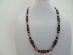 Fully-beaded 31.5 Necklace Handcrafted Of Orange Cylinders, Ovals W/ Blck Glass