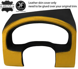 Black Yellow Instrument Cluster Hood Real Leather Cover For Ford F150 04-08 Jf1