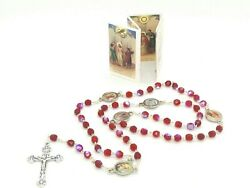 Sorrowful Mysteries Red Italian Crystal Rosary Beads Stamped Made In Italy