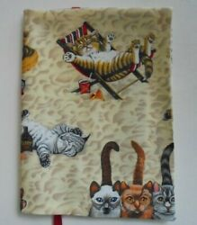 Fabric Book Cover Fits Books 6 X 9 Cats On The Beach Large Book Cover Kitty