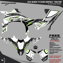 Dfr Traction Graphic Kit Black Green Sides/fenders 2014-newer Yamaha Yfz450r