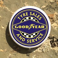 Goodyear Tyres Led Illuminated Light Box Sign Gas And Oil Vintage Automobilia