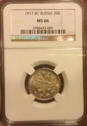 1917 Bc Russia Silver 20 Kopeks Ngc Ms 66 Key Date Extremely Scarce Issue